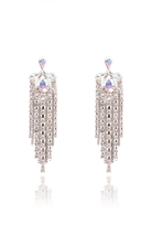 Quiz Silver Diamante Strand Earrings