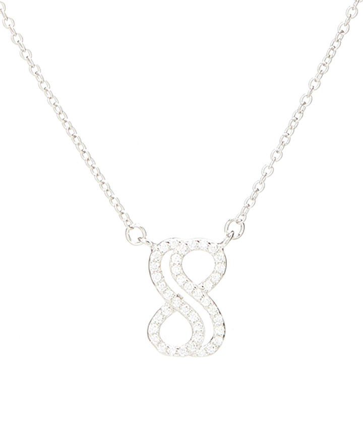Cubic Zirconia & Sterling Silver Infinity Pendant Necklace