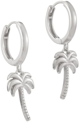 Seol + Gold Sterling Silver Palm Tree Charm Hoops