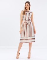 Dorothy Perkins Stripe Midi Fit-and-Flare Dress