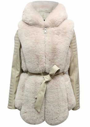 Flam Mode New Ladies Classic Faux Man Made Fur Jacket (Cream Hooded M)