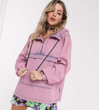 Reclaimed Vintage inspired oversized washed denim hoodie-Blue