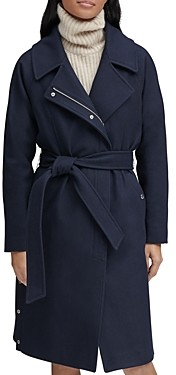 Andrew Marc Belted Faux Wrap Coat