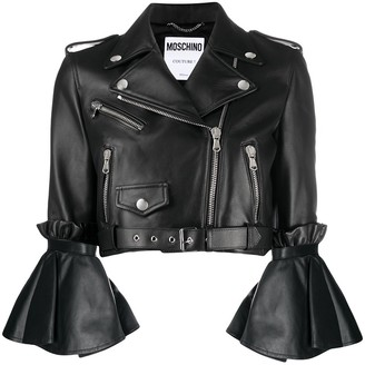 Moschino Flared Cuff Leather Jacket