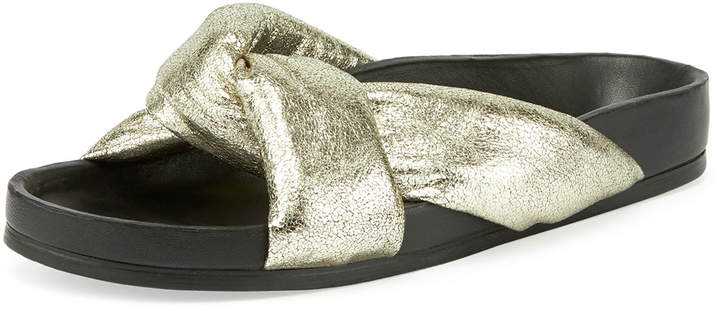 Chloé Leather Crisscross Slide Sandal, Gray Glitter