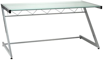 Euro Style Aluminum/Frosted Glass Z Deluxe Large Desk
