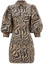 Ganni Puff-sleeve Tiger-print Cotton Shirtdress - Womens - Black Beige