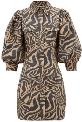 Ganni Puff-sleeve Tiger-print Cotton Shirtdress - Black Beige