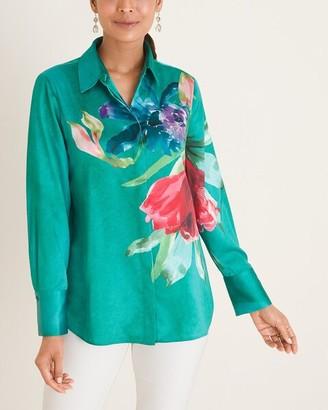 Chico's Floral Watercolor-Print Satin Shirt