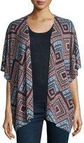 Neiman Marcus Superfine Cashmere Spanish Tile Kimono Cardigan