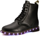 Fuiigo Newest Winter Shoes Leather Marten Boots 8 Eye LED Luminous Lace Up Boot Army Combat Boots 11 M US