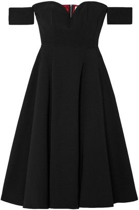 Sara Battaglia Off-the-shoulder Pleated Cady Midi Dress