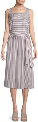 Lafayette 148 New York Striped Cotton Blend Fit-&-Flare Dress