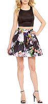 Sequin Hearts Solid Cutout Back Top to Floral Skirt Two-Piece Party Dress