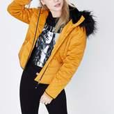 River Island Womens Petite mustard yellow padded faux fur coat