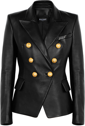 Balmain Black double-breasted leather blazer