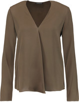 Theory Meniph pleated silk blouse