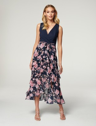 Forever New Joanna Frill Two-in-One Maxi Dress - Antique Navy Floral - 10