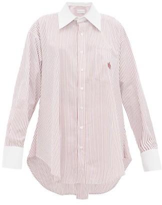 Matthew Adams Dolan - Logo-embroidered Striped Cotton-poplin Shirt - Red White