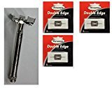 Personna Double Edge Safety Razor + Double Edge Stainless Steel Refill Blades, 5 ct. (Pack of 3) + FREE Scunci Black Roller Pins, 18 Pcs