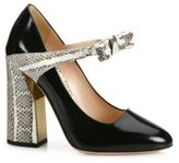 Gucci Nimue Bow Patent Leather & Snakeskin Mary Jane Block Heel Pumps