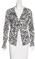 Bottega Veneta Silk Abstract Pattern Cardigan