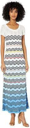 M Missoni Zigzag Tie-Dye Long Dress (White/Blue) Women's Clothing