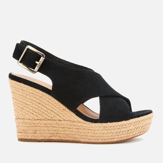UGG Women's Harlow Suede Wedged Sandals - Black