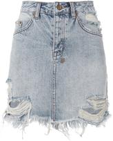 Ksubi Mini Moss Distressed Skirt