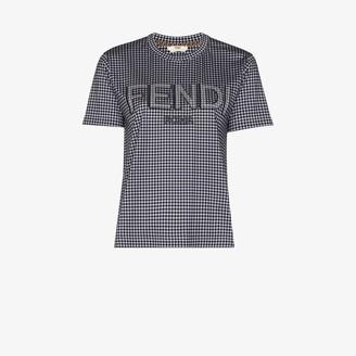 Fendi Vichy gingham logo cotton T-shirt