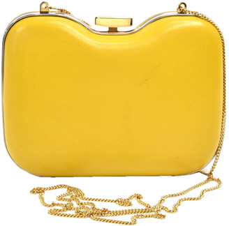 Fendi Yellow Giallo Leather Structured Clutch