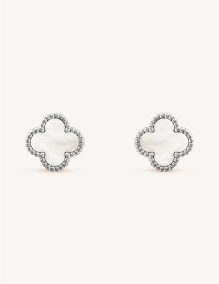 Van Cleef & Arpels Women's White Gold Sweet Alhambra And Mother-Of-Pearl Earrings