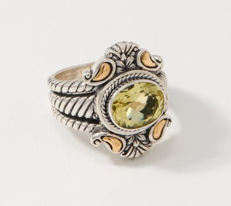 Artisan Crafted Sterling & 18K Gold East-West Oval Gemstone Ring