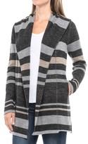 Max Studio Striped Hooded Cardigan Sweater - Merino Wool Blend (For Women)