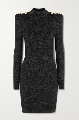 Balmain Button-embellished Metallic Ribbed-knit Turtleneck Mini Dress - Black