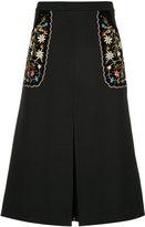Vilshenko embroidered floral skirt