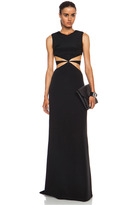 Silk Crepe Maxi Dress with Side Cutouts in Black