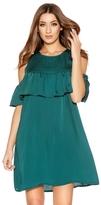 Quiz Green Satin Frill Tunic Dress