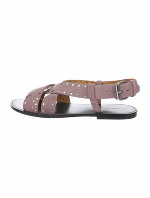 Isabel Marant Suede Studded Accents Gladiator Sandals Pink