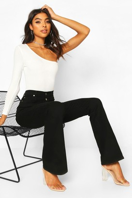 boohoo Tall Button Front High Waisted Flared Jeans