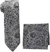 Pierre Cardin Men's Paisley Tie and Pocket Square, black/white