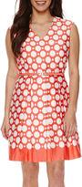 Studio 1 Sleeveless Dot Print Fit-and-Flare Dress - Petite