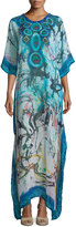 Alberto Makali Printed Scoop-Neck Caftan, Blue