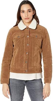 Levi's Classic Faux Suede Trucker Jacket w/ Sherpa Collar (Cognac) Women's Clothing