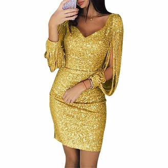 fagginakss Women's Sequin Glitter Long Sleeve Dress Sexy V Neck Tassel Mini Party Club Bodycon Dresses Wedding Bridesmaid Ball Clubwear for Evening Party Red