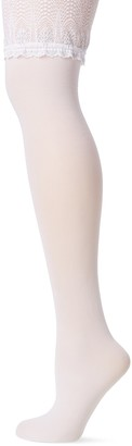 Fiore Women's Pearl Lace Top Tights with Silver Thread Bridal Wedding 40 Den