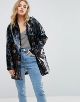 New Look Floral Patent Anorak