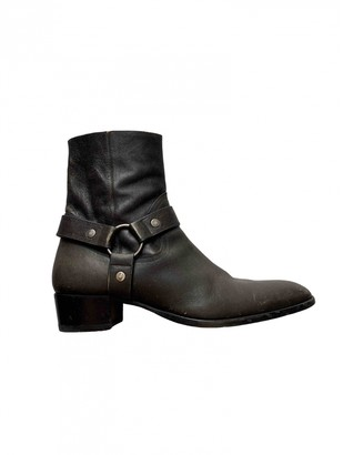 Saint Laurent Wyatt Anthracite Leather Boots
