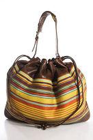 M Missoni Multi-Color Leather Canvas Striped Open Top One Strap Hobo Handbag