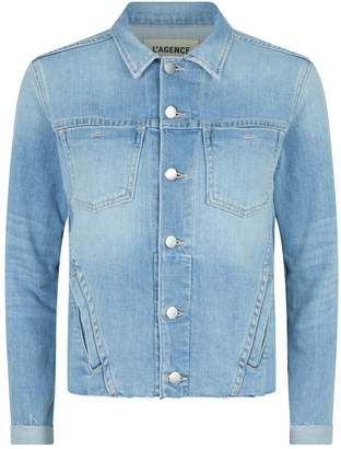 L'Agence Janelle Raw-Hem Denim Jacket